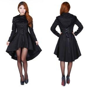 Jackets & Blazers - Plus Size Button Up Hood Long Coat Gothic Festival